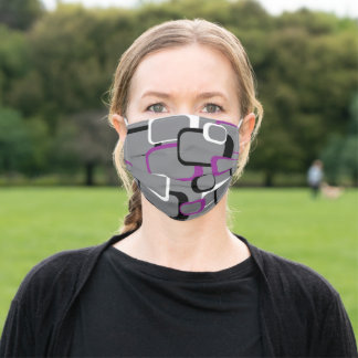 Retro Squares Pattern Purple White Black Gray Adult Cloth Face Mask