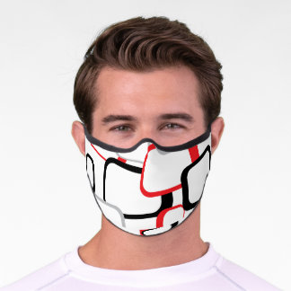 Retro Squares Pattern Red Black Gray White Premium Face Mask