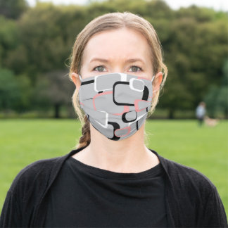 Retro Squares Pink Gray White Black Pattern Adult Cloth Face Mask