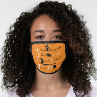 Retro Typography Traditional Halloween Poem Face Mask