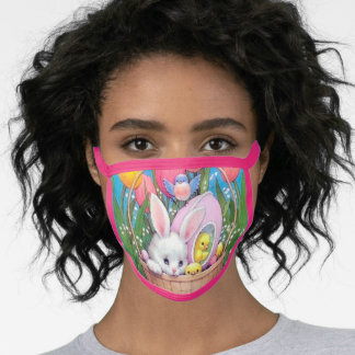 retro vintage Easter friends Holiday Face Mask