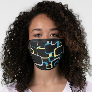 Retro Yellow Blue Gray Black Squares Pattern Face Mask