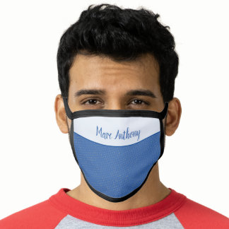 Reusable Blue Grunge Polka Dots Pattern w Name Face Mask