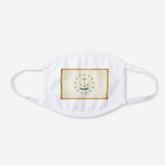RHODE ISLAND Flag - White Cotton Face Mask