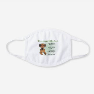Rhodesian Ridgeback White Cotton Face Mask