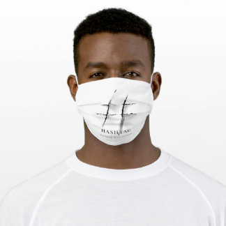 ripped paper in hashtag sign adult cloth face mask