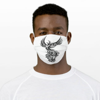 Rising From The Ashes Black Phoenix Tattoo Stencil Adult Cloth Face Mask