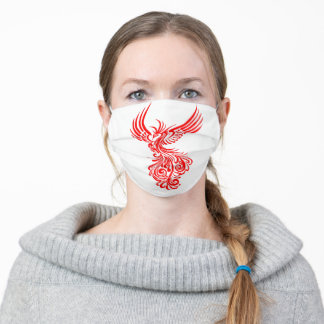Rising From The Ashes Red Phoenix Tattoo Stencil Adult Cloth Face Mask