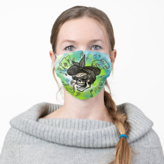 Rockabilly Girl Black and White Drawing Abstract Adult Cloth Face Mask