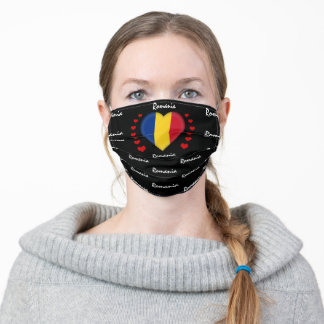 Romania Flag & Heart, Romanian Flag fashion /sport Adult Cloth Face Mask