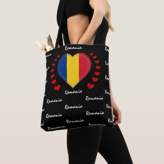 Romania Flag & Heart, Romanian Flag fashion /sport Tote Bag