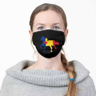 Romania flag & Horse Running - Heart/face mask