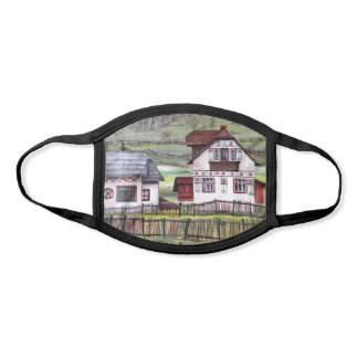 Romania Traditional Culture House Watercolor Face Mask