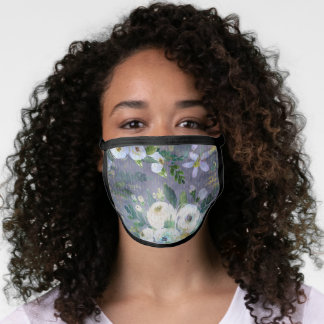 Romantic vintage floral grey blue gold watercolor face mask