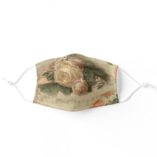 Romantic Vintage Roses and Music Adult Cloth Face Mask