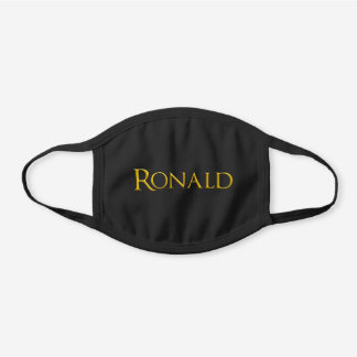 Ronald Man's Name Black Cotton Face Mask