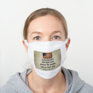 Ronald Reagan Quote on Progressives White Cotton Face Mask