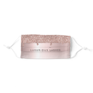 Rose Gold Blush Glitter Drips Lash Extensions Adult Cloth Face Mask