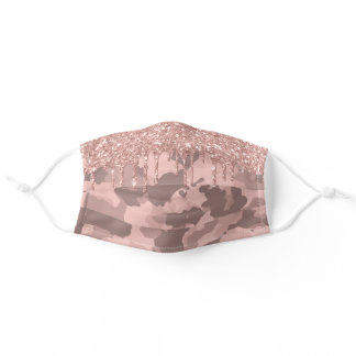 Rose Gold  Camo Camouflage  Glitter Drips for her Adult Cloth Face Mask