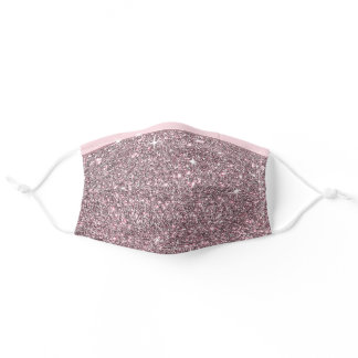 Rose Gold Faux Glitter Pink Bling Stars Pattern Adult Cloth Face Mask