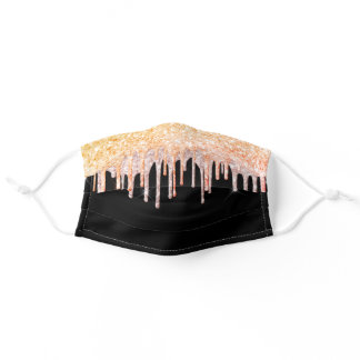 Rose gold glitter drips dripping black girly glam adult cloth face mask