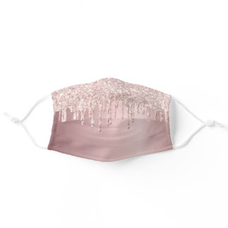 Rose gold glitter drips dripping girly glam adult cloth face mask