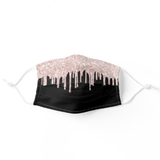 Rose gold glitter drips dripping girly glam black adult cloth face mask