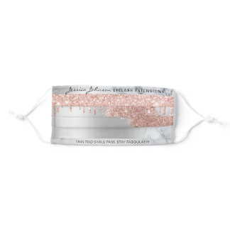 Rose Gold Glitter drips marble silver grey ombre Adult Cloth Face Mask