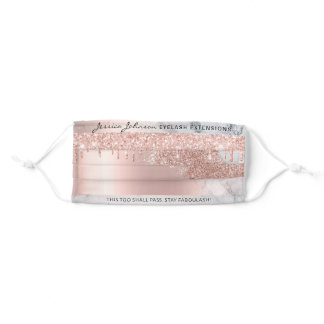 Rose Gold Glitter drips marble texture Eyelashes Adult Cloth Face Mask