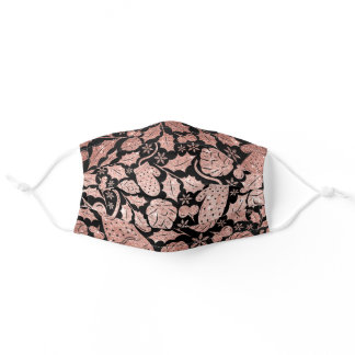 Rose gold glitter pink xmas pattern on black adult cloth face mask