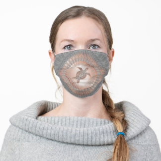 Rose Gold Gray Turtle And Mandala Adult Cloth Face Mask
