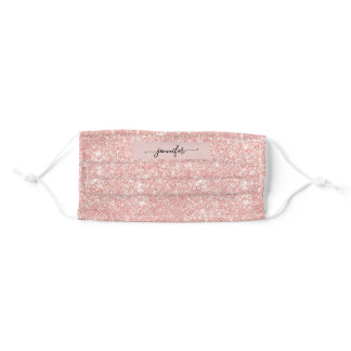 Rose Gold  Pink Glitter and Sparkle Monogram Adult Cloth Face Mask