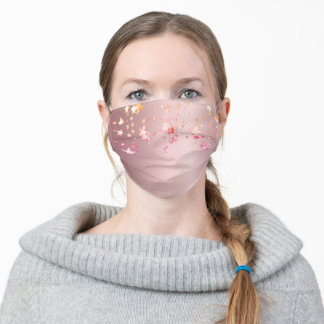 Rose gold pink stars girly glam adult cloth face mask
