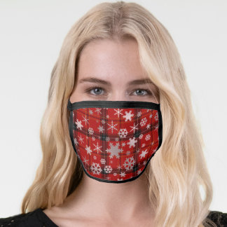 Rose Gold Plaid Christmas Snowflake Pattern Face Mask