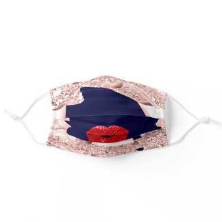 Rose Name Blush Spark 3D Navy Red Lips Covid-19 Adult Cloth Face Mask