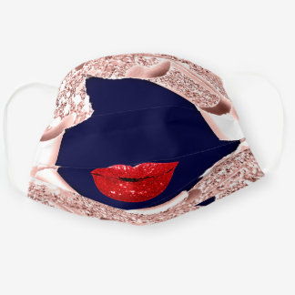 Rose Name Blush Spark 3D Navy Red Lips Covid-19 Cloth Face Mask