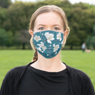Rose of Sharon Flowers | Teal Adult Cloth Face Mask