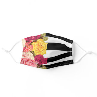 Roses on Modern Black & White Stripes Chic Florist Adult Cloth Face Mask
