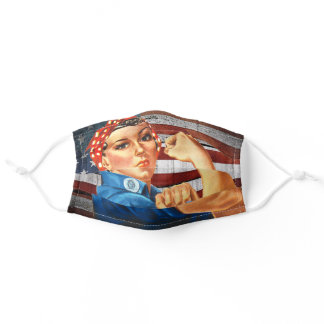 Rosie the Riveter Rustic Vintage USA flag Adult Cloth Face Mask