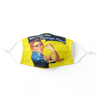 Rosie The Riveter We Can Get Through This! Adult Cloth Face Mask