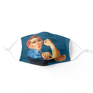 Rosie the Riveter WW2 Patriotic Blue Adult Cloth Face Mask