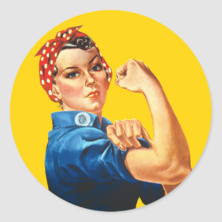Rosie the Riveter WW2 Patriotic Face Mask Classic Round Sticker