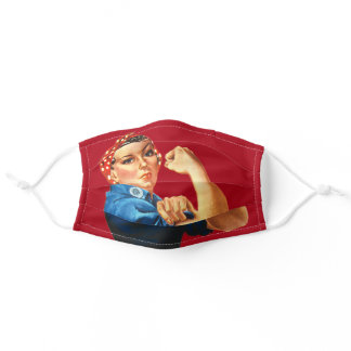 Rosie the Riveter WW2 Patriotic Red Adult Cloth Face Mask