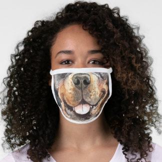Rottweiler funny animal nose mouth watercolor fun face mask