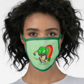 Rottweiler St. Patricks Day Face Mask