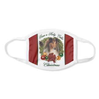 Rough Collie Christmas Face Mask