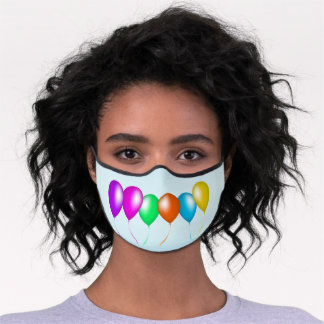 Row of Bright Colorful Balloons Streamers Premium Face Mask