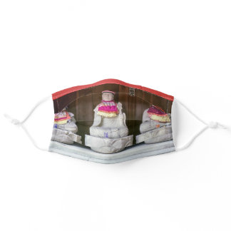 Row of Jizo monk statues with bib and hat - Japan Adult Cloth Face Mask
