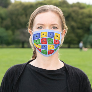 Rowing four colors sporty pattern adult cloth face mask
