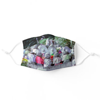 Rows of small Jizo monk statues with bibs - Japan Adult Cloth Face Mask